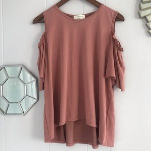 Lavender Field Dusty Rose Cold Shoulder Blouse L